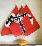 WWII REGULAR NAZI AND WWII - 3 X TABLE FLAG WITH WOODEN BASE